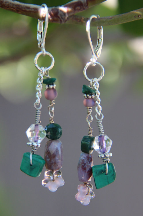 Green Malachite and Lavender Dangle Earrings