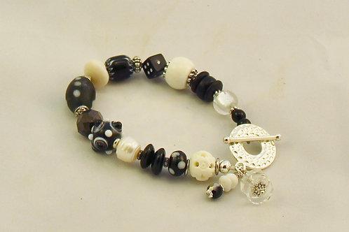 Handcrafted Black & White Bracelet
