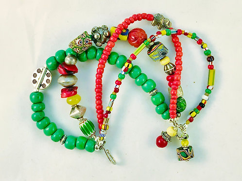 Ethnic Tribal Colorful Red Green Bracelet