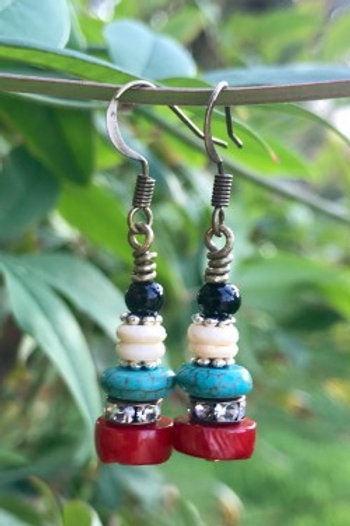 Turquoise, Red Coral, White Bone Bronze Earrings
