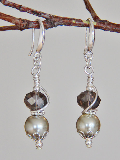 Pearl & Gray Cut Crystal Earrings with Sterling Silver Ear Wires