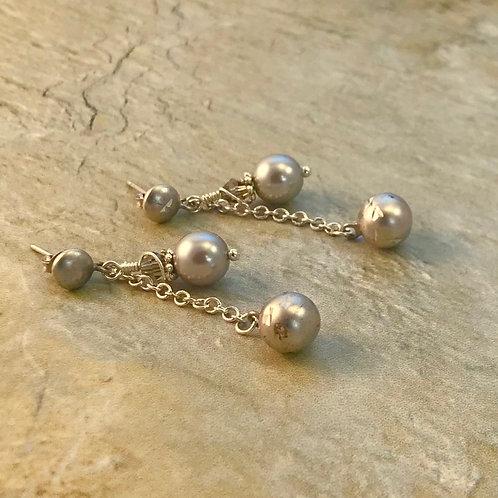 Silver, Gray Glass Pearl Dangle Post Earrings