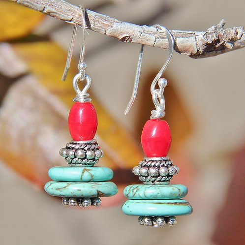 Turquoise, Red Coral & Silver Earrings