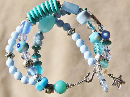Handcrafted Blue & Aqua Bracelet