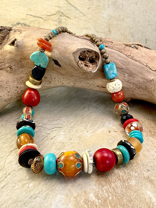 Colorful Southwest Chunky Boho Statement Necklace