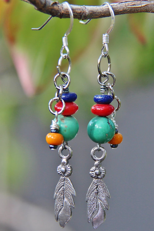 Turquoise, Lapis, Red Coral Dangle Earrings
