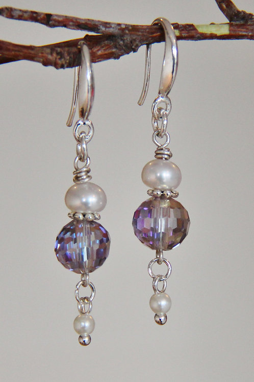 Pink/Lavender Crystal & White Button Pearl Sterling Silver Earrings