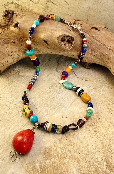 necklace - multicolor red jasper pendant