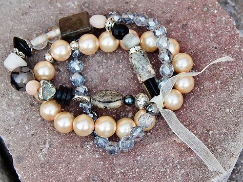 Black, Peach & Silver Stretch Bracelet