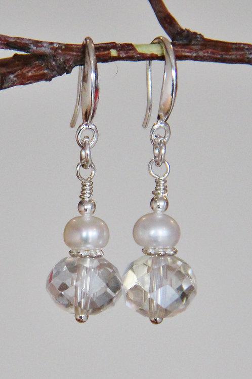 Pearl & Clear Crystal Sterling Silver Dangle Earrings