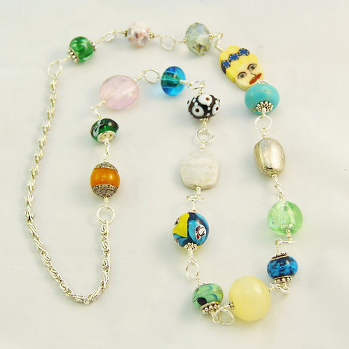 Handcrafted Unique Colorful Silver Linked Beads Necklace