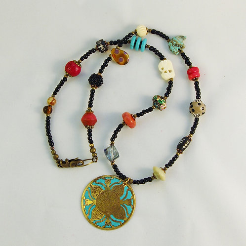 Turquoise Medallion Multicolor Bead Necklace