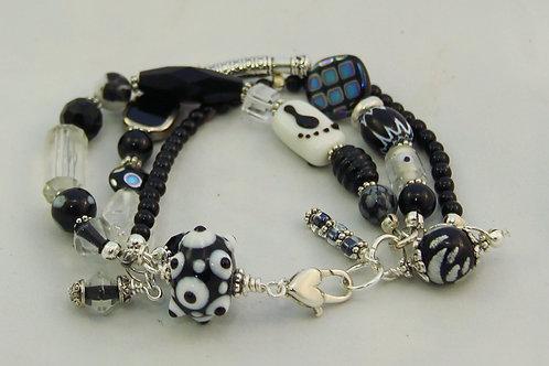 Black White & Silver Bracelet