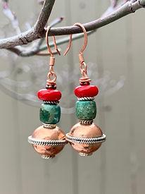 earrings - copper & silver ball, green t