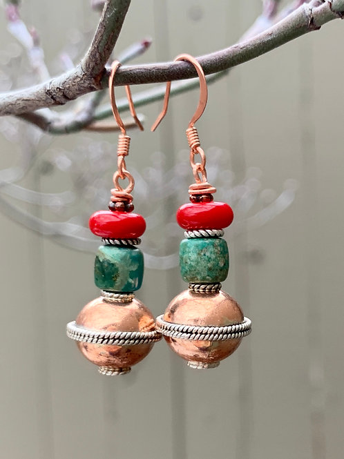 Handcrafted Copper & Turquoise Earrings