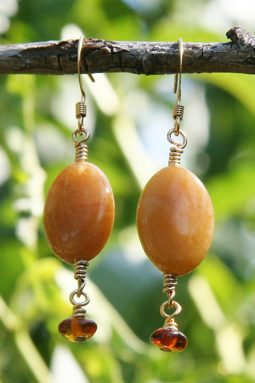Baltic Amber & Yellow Jasper Gold Earrings