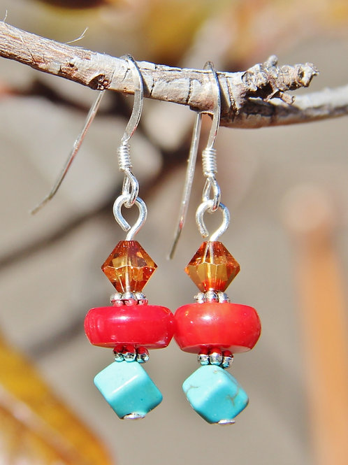 Turquoise, Red Coral & Swarovski Crystal Dangle Earrings
