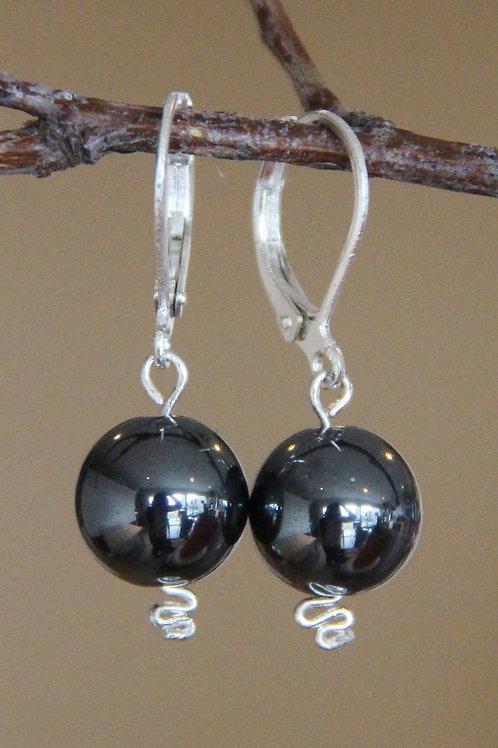 Black Faux Hematite Sterling Silver Earrings