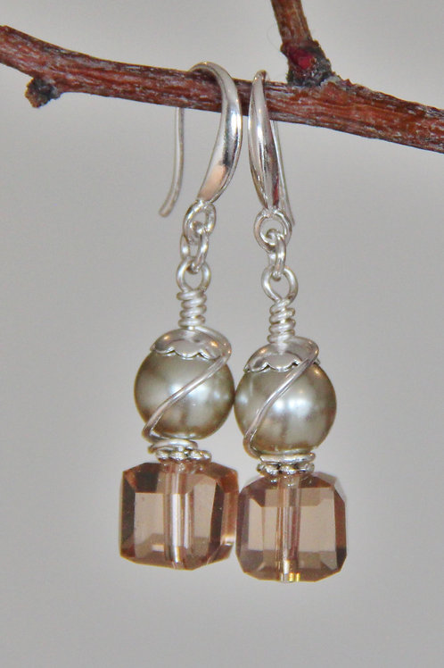 Peach Austrian Crystal & Champagne Pearl Sterling Silver Earrings