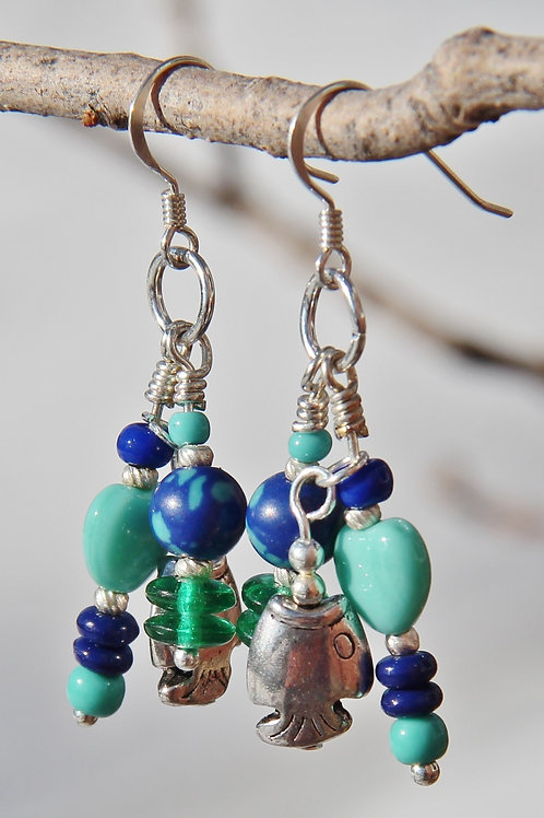 Ocean Fish Aqua & Blue Dangle Earrings