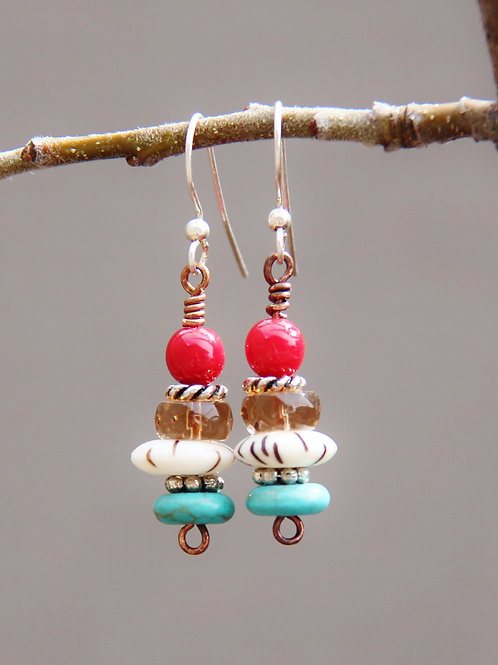 Southwest Turquoise, Bone & Silver Dangle Earrings