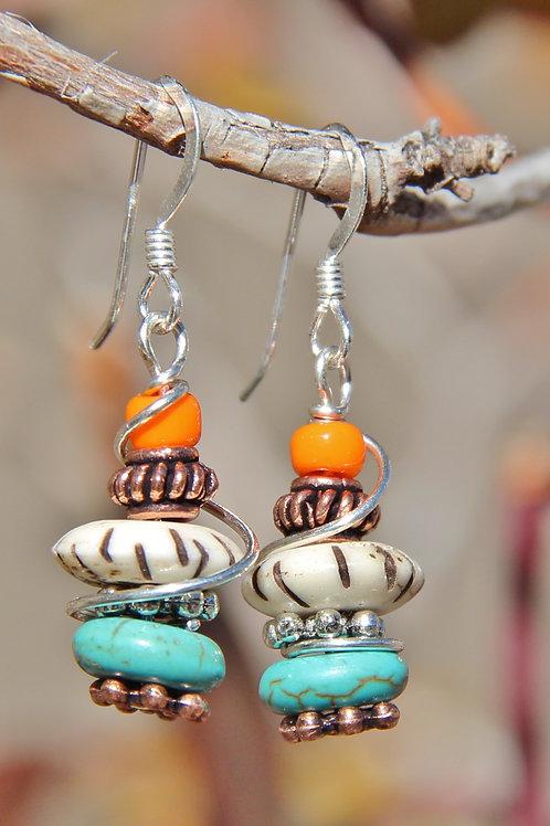 Southwest Turquoise, Copper & Bone Silver Wire Wrap Earrings