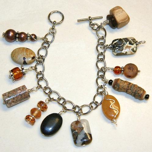 Earth Tones Silver Charm Bracelet