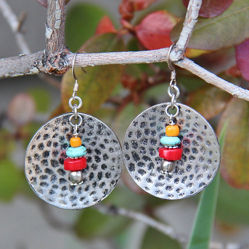 Hammered Disk, Turquoise & Coral Earrings