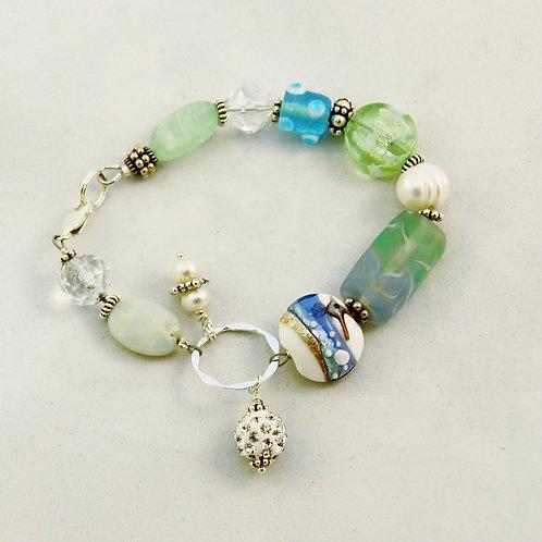 Sterling Silver Mint Green Aqua Pearl Bracelet