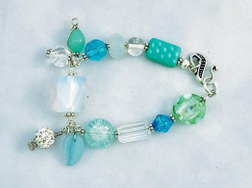 Aqua Green Blue Silver Bracelet