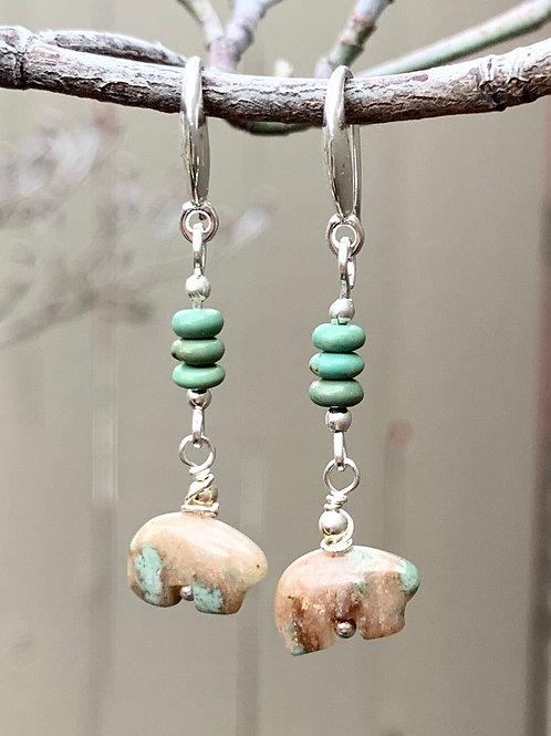 Turquoise Fetish Bear Sterling Silver Earrings