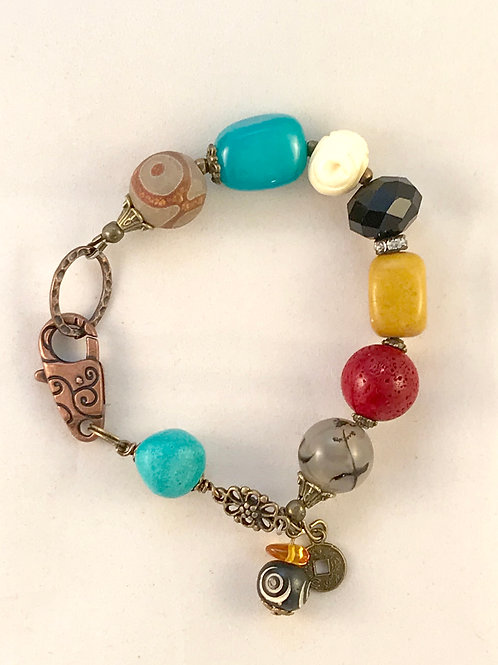 Eclectic Colorful Boho Coral & Agate Copper Bracelet