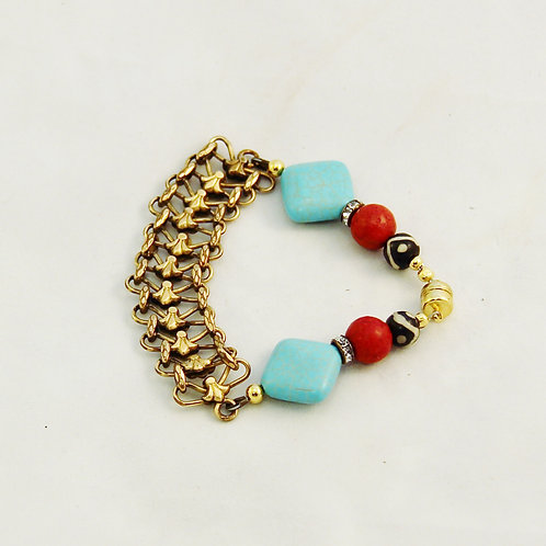 Upcyled Turquoise Red Coral Bone & Gold Chain Bracelet