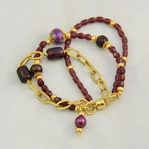 Purple and Gold 3 Strand Bracelet