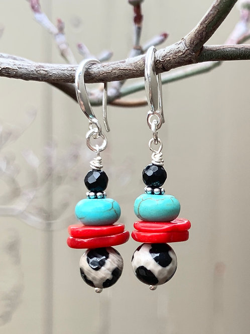 Black White Turquoise Coral Agate Sterling Silver Earrings