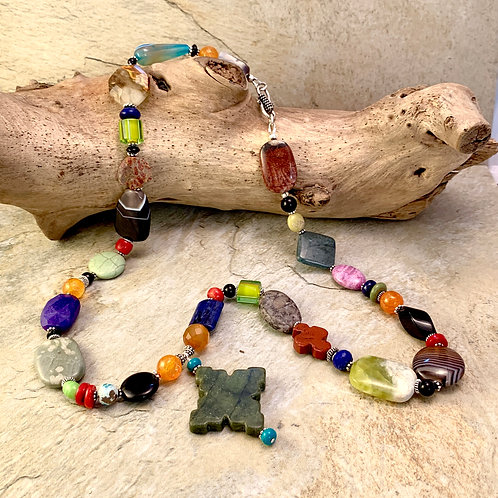 Exquisite Handcrafted Agate & Sterling Silver Statement Necklace