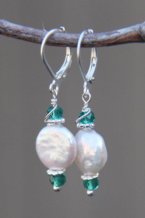 White Pearl & Aqua Teal Cut Crystal Sterling Silver Earrings