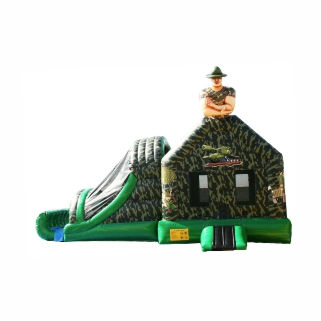 Boot Camp Camouflage Bounce House Slide Combo