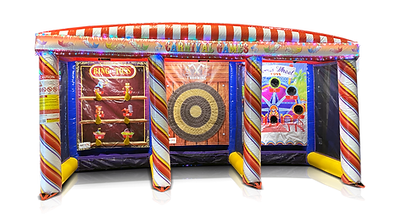 Carnival Game with Ring Toss, Axe Throw, and Bean Toss Games