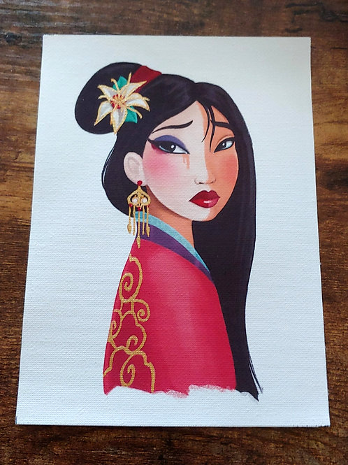 Mulan 5x7in Gold Embellished Canvas Print