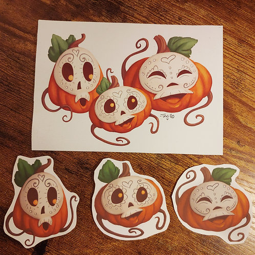 Sugar Pumpkins 5x7in canvas print +3 stickers combo