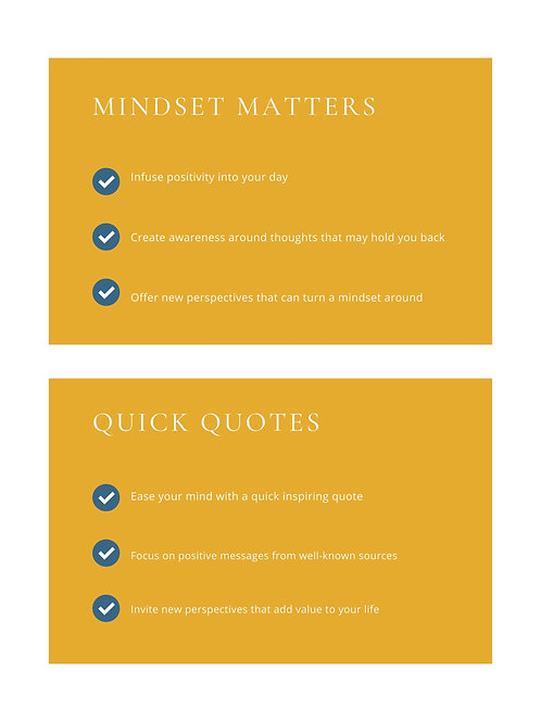 2: Small Steps, Big Impact: Mindset Matters (11 pgs) & Quick Quotes (10 pgs)