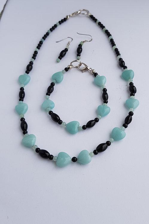 Amazonite & Onyx Necklace, Bracelet & Earrings Set Handmade
