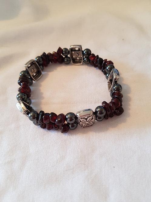 Magnetic Hematite and Garnet Bracelet