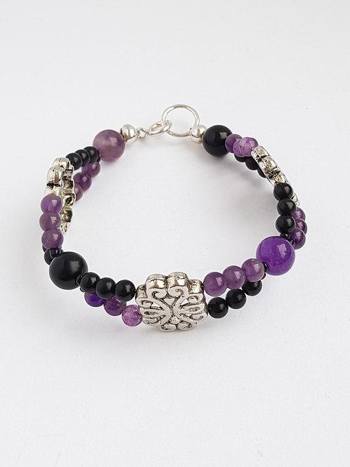 Amethyst & Obsidian & Tibetan Silver Wavy Bracelet