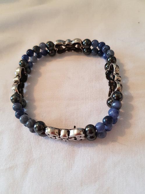 Magnetic Hematite and Lapis Lazuli  Bracelet