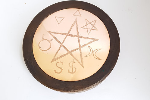 Copper & Beech Wood Pagan Guardenerian Style Pentagram Altar Item