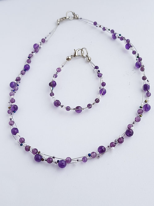 Amethyst Necklace & Bracelet Set