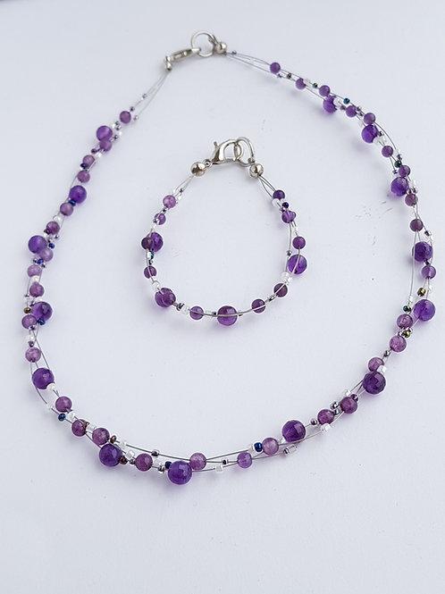 Amethyst Necklace & Bracelet Set