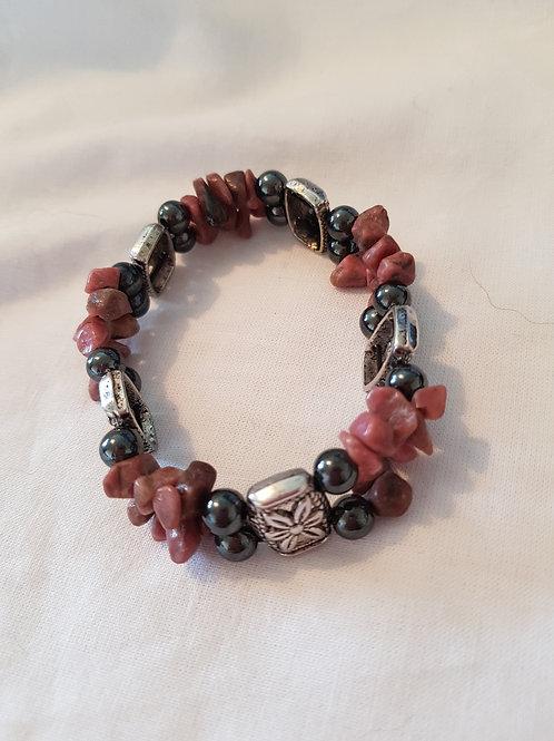 Magnetic Hematite and Rhodonite Bracelet